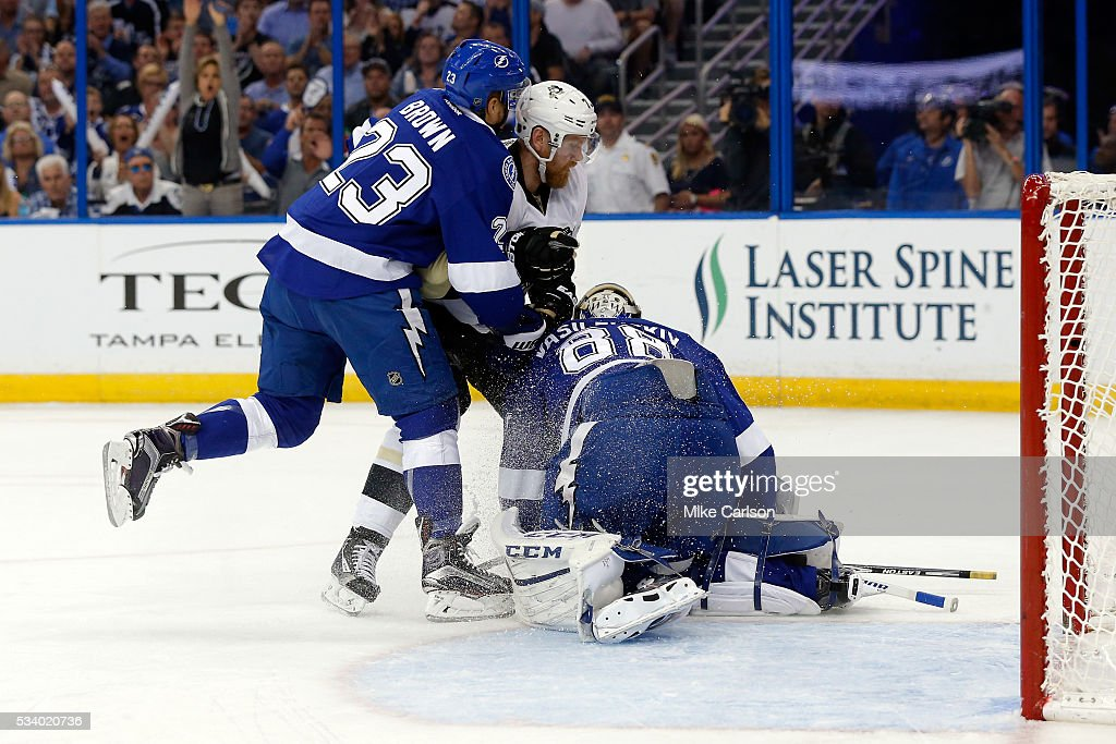 <a gi-track='captionPersonalityLinkClicked' href=/galleries/search?phrase=Andrei+Vasilevskiy+-+Ice+Hockey+Player&family=editorial&specificpeople=9594320 ng-click='$event.stopPropagation()'>Andrei Vasilevskiy</a> #88 of the Tampa Bay Lightning makes a save against the Pittsburgh Penguins in Game Six of the Eastern Conference Final during the 2016 NHL Stanley Cup Playoffs at Amalie Arena on May 24, 2016 in Tampa, Florida.
