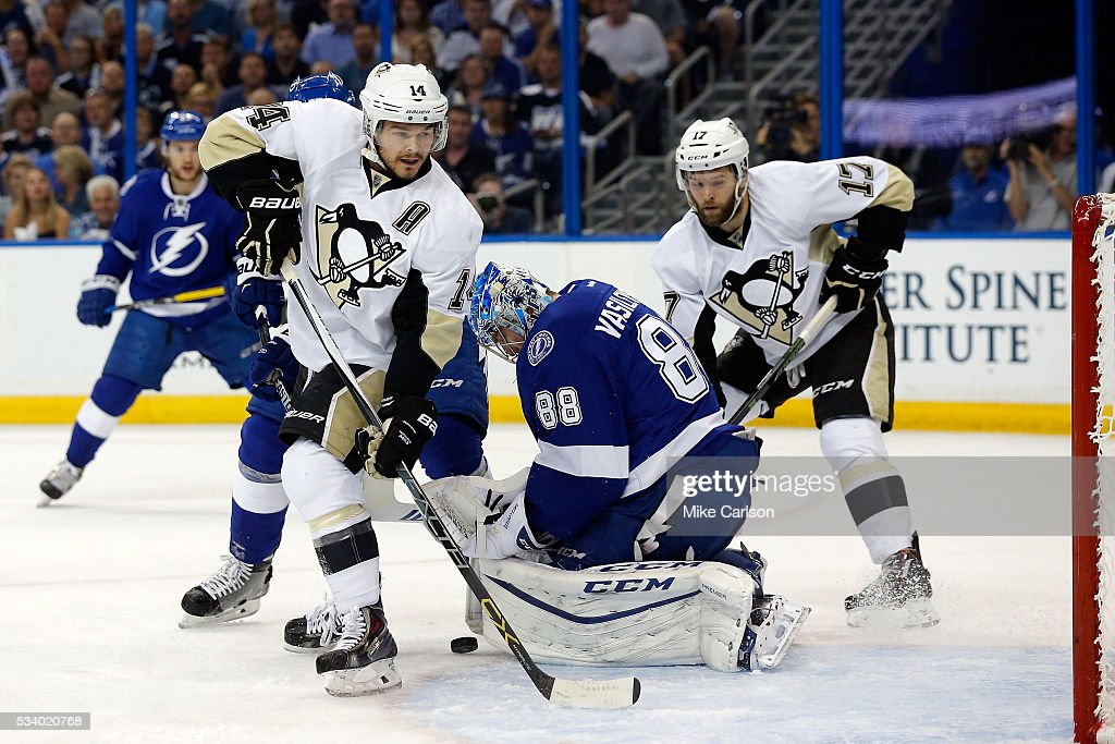 <a gi-track='captionPersonalityLinkClicked' href=/galleries/search?phrase=Andrei+Vasilevskiy+-+Ice+Hockey+Player&family=editorial&specificpeople=9594320 ng-click='$event.stopPropagation()'>Andrei Vasilevskiy</a> #88 of the Tampa Bay Lightning makes a save against the Pittsburgh Penguins during the first period in Game Six of the Eastern Conference Final during the 2016 NHL Stanley Cup Playoffs at Amalie Arena on May 24, 2016 in Tampa, Florida.