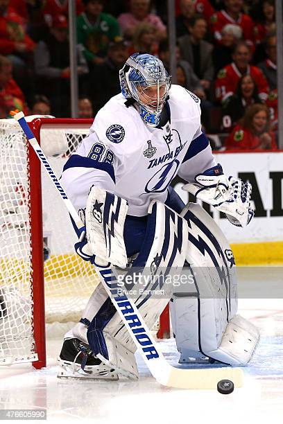Andrei Vasilevskiy of the Tampa Bay Lightning makes a save in the first period against the Chicago Blackhawks during Game Four of the 2015 NHL...