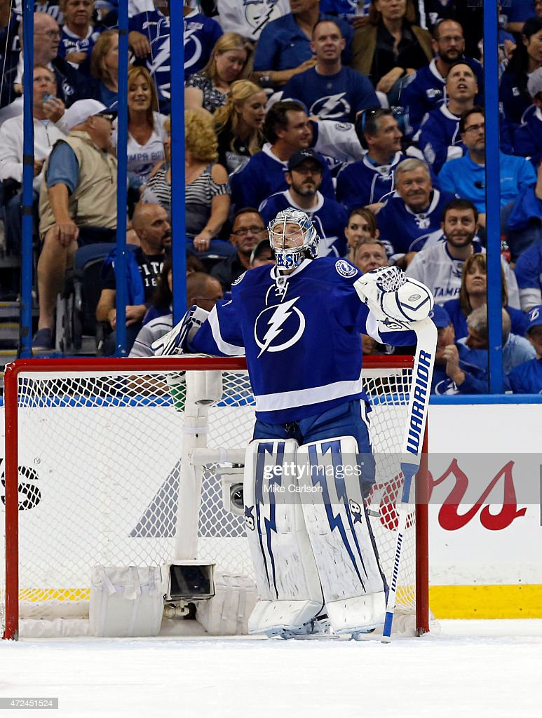 <a gi-track='captionPersonalityLinkClicked' href=/galleries/search?phrase=Andrei+Vasilevskiy+-+Ice+Hockey+Player&family=editorial&specificpeople=9594320 ng-click='$event.stopPropagation()'>Andrei Vasilevskiy</a> #88 of the Tampa Bay Lightning reacts to giving up a goal against the Montreal Canadiens in Game Four of the Eastern Conference Semifinals during the 2015 NHL Stanley Cup Playoffs at Amalie Arena on May 7, 2015 in Tampa, Florida.