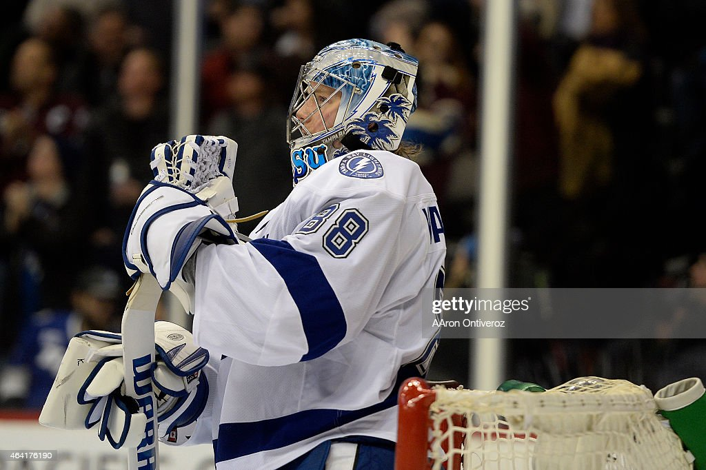 <a gi-track='captionPersonalityLinkClicked' href=/galleries/search?phrase=Andrei+Vasilevskiy+-+Ice+Hockey+Player&family=editorial&specificpeople=9594320 ng-click='$event.stopPropagation()'>Andrei Vasilevskiy</a> (88) of the Tampa Bay Lightning reacts to giving up his fifth goal of the game -- a 5-2 goal by Alex Tanguay (40) of the Colorado Avalanche -- during the third period of the Avs' 5-4 win. The Colorado Avalanche hosted the Tampa Bay Lightning at the Pepsi Center on Sunday, February 22, 2015.