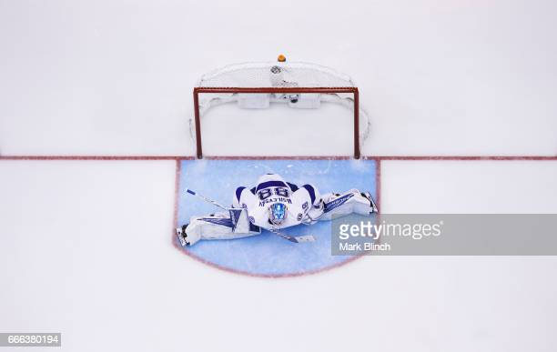 Andrei Vasilevskiy of the Tampa Bay Lightning stretches in net against the Toronto Maple Leafs during the second period at the Air Canada Centre on...