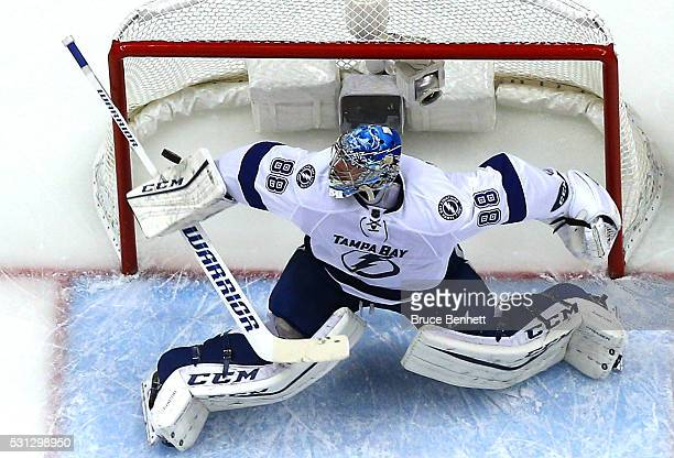 Andrei Vasilevskiy of the Tampa Bay Lightning tends goal against the Pittsburgh Penguins in Game One of the Eastern Conference Final during the 2016...