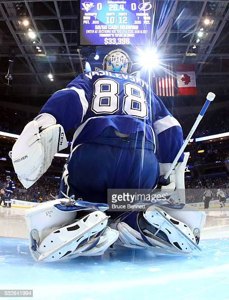Andrei Vasilevskiy of the Tampa Bay Lightning tends goal during the second period against the Pittsburgh Penguins in Game Three of the Eastern...