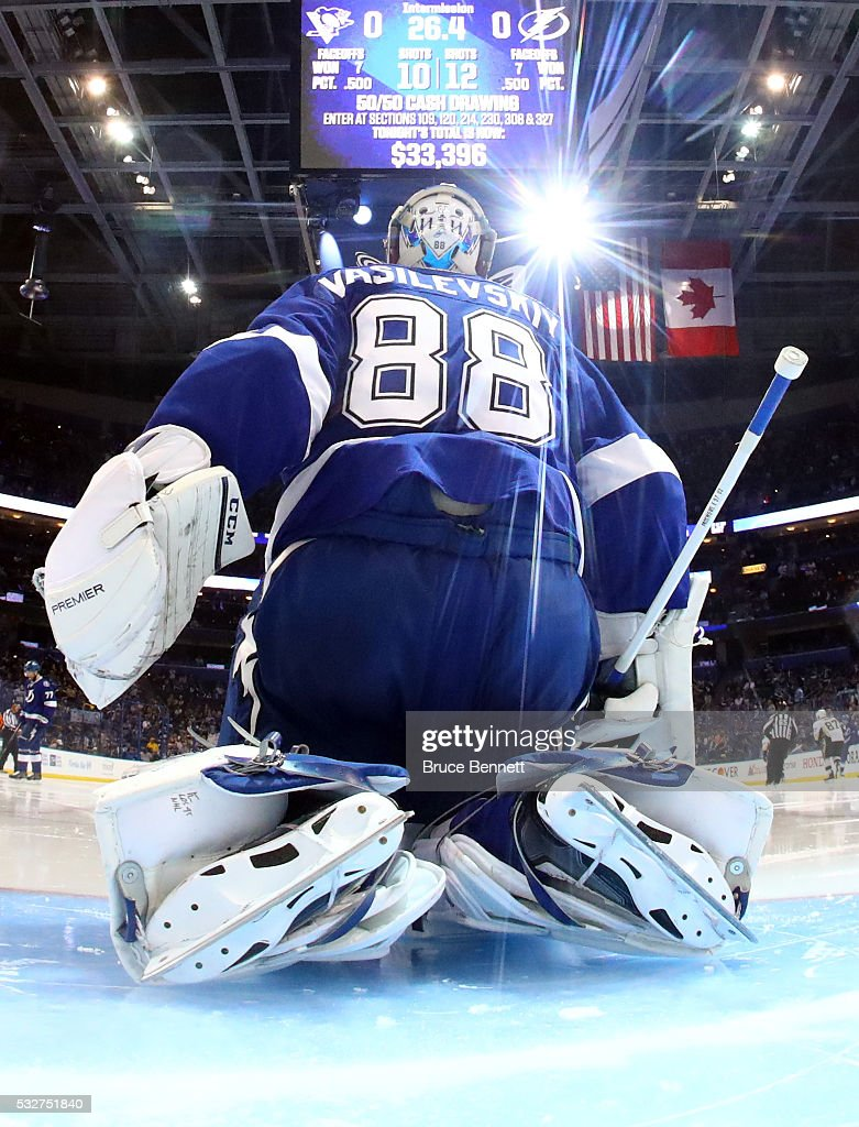 <a gi-track='captionPersonalityLinkClicked' href=/galleries/search?phrase=Andrei+Vasilevskiy+-+Ice+Hockey+Player&family=editorial&specificpeople=9594320 ng-click='$event.stopPropagation()'>Andrei Vasilevskiy</a> #88 of the Tampa Bay Lightning tends goal during the second period against the Pittsburgh Penguins in Game Three of the Eastern Conference Final during the 2016 NHL Stanley Cup Playoffs at Amalie Arena on May 18, 2016 in Tampa, Florida.