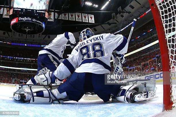 Andrei Vasilevskiy of the Tampa Bay Lightning tends net against the Chicago Blackhawks during Game Four of the 2015 NHL Stanley Cup Final at the...