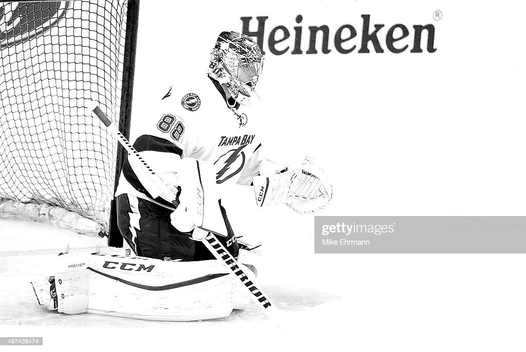 <a gi-track='captionPersonalityLinkClicked' href=/galleries/search?phrase=Andrei+Vasilevskiy+-+Ice+Hockey+Player&family=editorial&specificpeople=9594320 ng-click='$event.stopPropagation()'>Andrei Vasilevskiy</a> #88 of the Tampa Bay Lightning warms up during a game against the Florida Panthers at BB&T Center on November 16, 2015 in Sunrise, Florida.