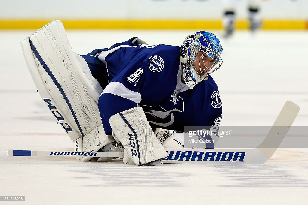 Andrei Vasilevskiy #88 of the Tampa Bay Lightning warms up prior to Game Six of the Eastern Conference Final against the Pittsburgh Penguins during the 2016 NHL Stanley Cup Playoffs at Amalie Arena on May 24, 2016 in Tampa, Florida.