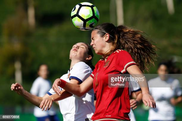 Andreia Faria of Portugal and Berta Pujadas of Spain during the UEFA U17 Women's Championship Qualifier match between Spain and Portugal at Cidade do...