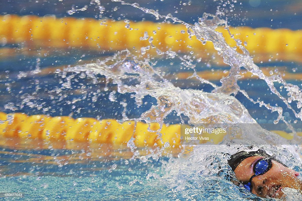 Andreina Pinto from Venezuela during the 400 meter combined swimming competition during a swimming event as part of the XVII Bolivarian Games Trujillo 2013 at pools complex of Mansiche Stadium on November 18, 2013 in Trujillo, Peru.