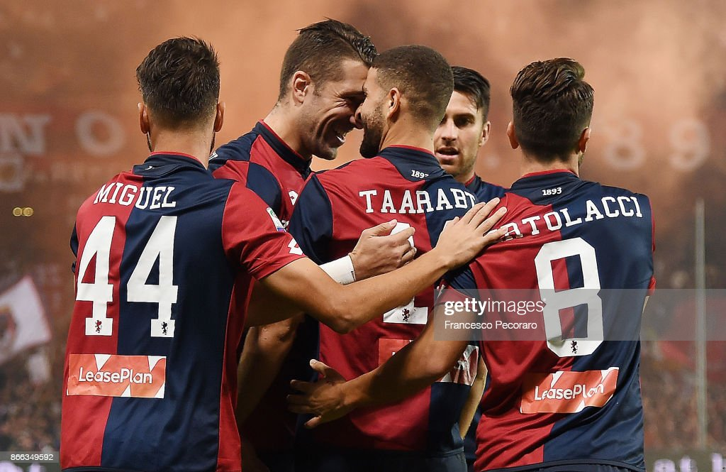 Andrej Galabinov and Adel Taarabt of Genoa CFC celebrate the 1-0 goal scored by Adel Taarabt during the Serie A match between Genoa CFC and SSC Napoli at Stadio Luigi Ferraris on October 25, 2017 in Genoa, Italy.