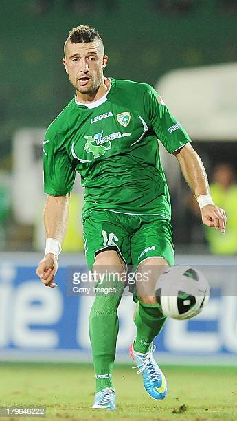 Andrej Galabinov of Avellino in action during the Serie B match between AS Avellino and Novara at PartenioAdriano Lombardi Stadium August 2013 in...