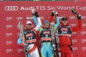Andrej Jerman of Slovenia takes 1st placeDidier Defago of Switzerland takes 2nd placeMichael Walchhofer of Austria takes 3rd place during the Audi...