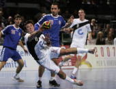 Andrej Klimovets of Germany throws at goal during the Statoil Handball World Cup match between Germany and Serbia at the AWD Dome on October 24 2006...