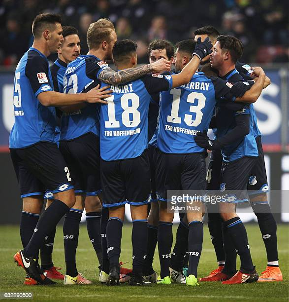 Andrej Kramaric of 1899 Hoffenheim is congratulated after scoring the second goal during the Bundesliga match between FC Augsburg and TSG 1899...