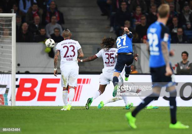 Andrej Kramaric of 1899 Hoffenheim scores the first goal during the Bundesliga match between TSG 1899 Hoffenheim and Bayern Muenchen at Wirsol...