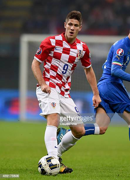 Andrej Kramaric of Croatia during the EURO 2016 Group H Qualifier match between Italy and Croatia at Stadio Giuseppe Meazza on November 16 2014 in...