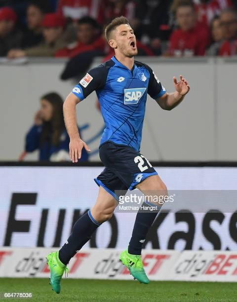 Andrej Kramaric of Hoffenheim celebrates after scoring his team's first goal during the Bundesliga match between TSG 1899 Hoffenheim and Bayern...