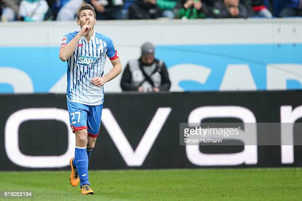 Andrej Kramaric of Hoffenheim celebrates his team's first goal during the Bundesliga match between 1899 Hoffenheim and VfL Wolfsburg at Wirsol...