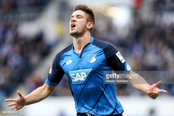 Andrej Kramaric of Hoffenheim celebrates his team's first goal during the Bundesliga match between TSG 1899 Hoffenheim and SV Darmstadt 98 at Wirsol...