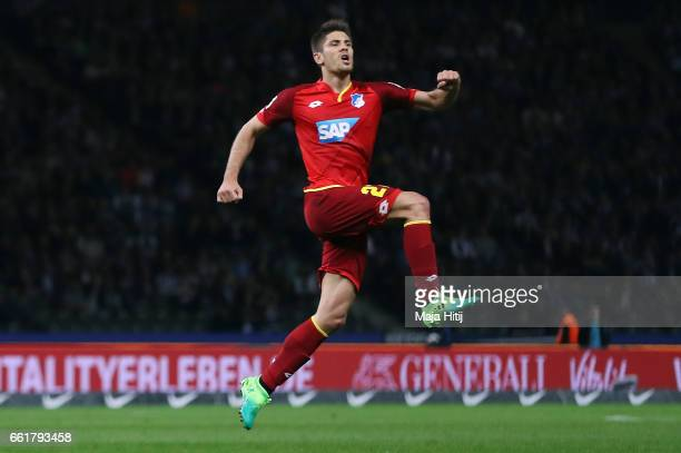 Andrej Kramaric of Hoffenheim celebrates his team's first goal during the Bundesliga match between Hertha BSC and TSG 1899 Hoffenheim at...