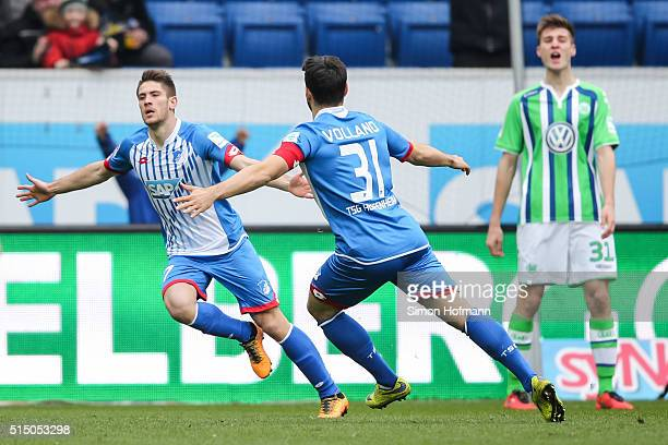 Andrej Kramaric of Hoffenheim celebrates his team's first goal with team mate Kevin Volland during the Bundesliga match between 1899 Hoffenheim and...