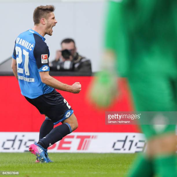 Andrej Kramaric of Hoffenheim celebrates his team's second goal during the Bundesliga match between TSG 1899 Hoffenheim and SV Darmstadt 98 at Wirsol...