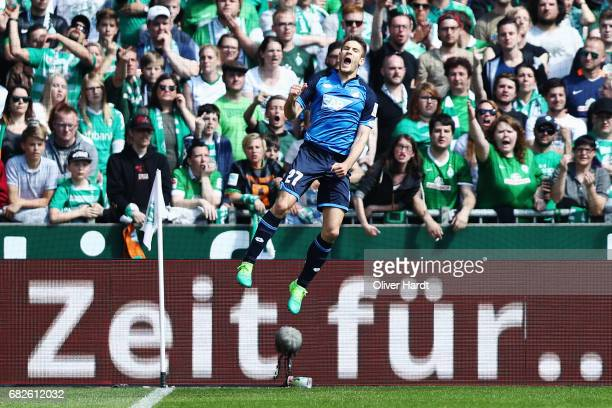 Andrej Kramaric of Hoffenheim celebrates scoring the opening goal during the Bundesliga match between Werder Bremen and TSG 1899 Hoffenheim at...