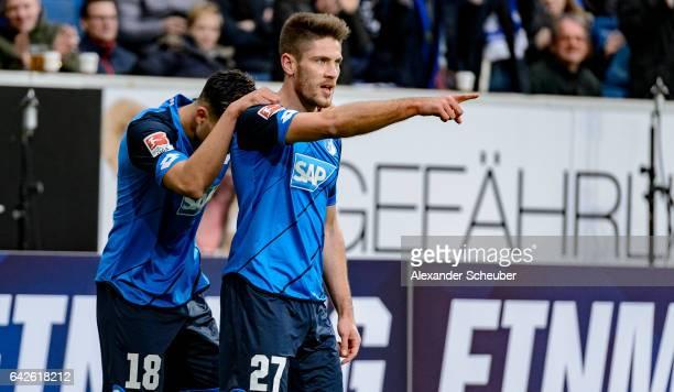 Andrej Kramaric of Hoffenheim celebrates the first goal for his team with Nadiem Amiri of Hoffenheim during the Bundesliga match between TSG 1899...