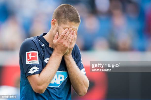 Andrej Kramaric of Hoffenheim reacts during the Bundesliga match between TSG 1899 Hoffenheim and Hertha BSC at Wirsol RheinNeckarArena on September...