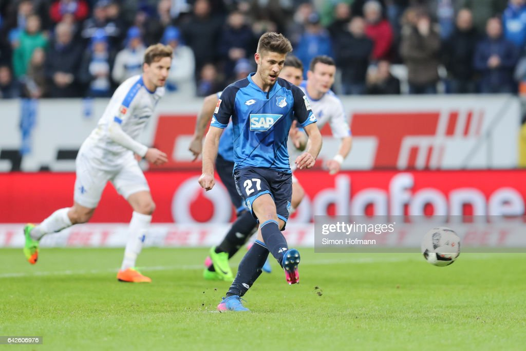 Andrej Kramaric of Hoffenheim scores his team's second goal with a penalty kick during the Bundesliga match between TSG 1899 Hoffenheim and SV Darmstadt 98 at Wirsol Rhein-Neckar-Arena on February 18, 2017 in Sinsheim, Germany.