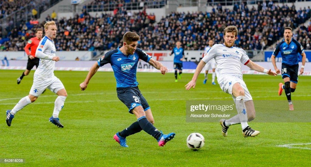 Andrej Kramaric of Hoffenheim scores the first goal for his team during the Bundesliga match between TSG 1899 Hoffenheim and SV Darmstadt 98 at Wirsol Rhein-Neckar-Arena on February 18, 2017 in Sinsheim, Germany.