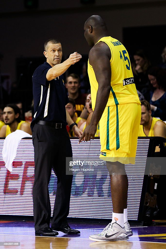 Andrej Lemanis of the Boomers talks to Nathan Jawai during the game two match between the New Zealand Tall Blacks and Australian Boomers at at TSB Bank Arena on August 18, 2015 in Wellington, New Zealand.