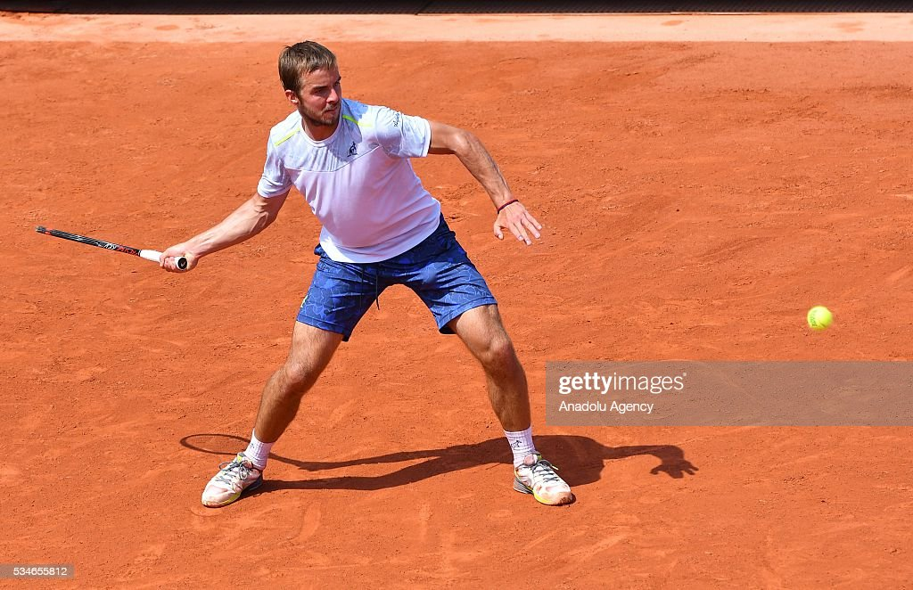 Andrej Martin of Slovakia returns to Milos Raonic (not seen) of Canada during the men's single third round match at the French Open tennis tournament at Roland Garros Stadium in Paris, France on May 27, 2016.