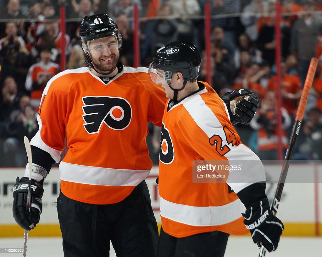<a gi-track='captionPersonalityLinkClicked' href=/galleries/search?phrase=Andrej+Meszaros&family=editorial&specificpeople=617818 ng-click='$event.stopPropagation()'>Andrej Meszaros</a> #41 and <a gi-track='captionPersonalityLinkClicked' href=/galleries/search?phrase=Matt+Read&family=editorial&specificpeople=6783206 ng-click='$event.stopPropagation()'>Matt Read</a> #24 of the Philadelphia Flyers celebrate Meszros's first period goal against the New York Islanders on March 1, 2012 at the Wells Fargo Center in Philadelphia, Pennsylvania.