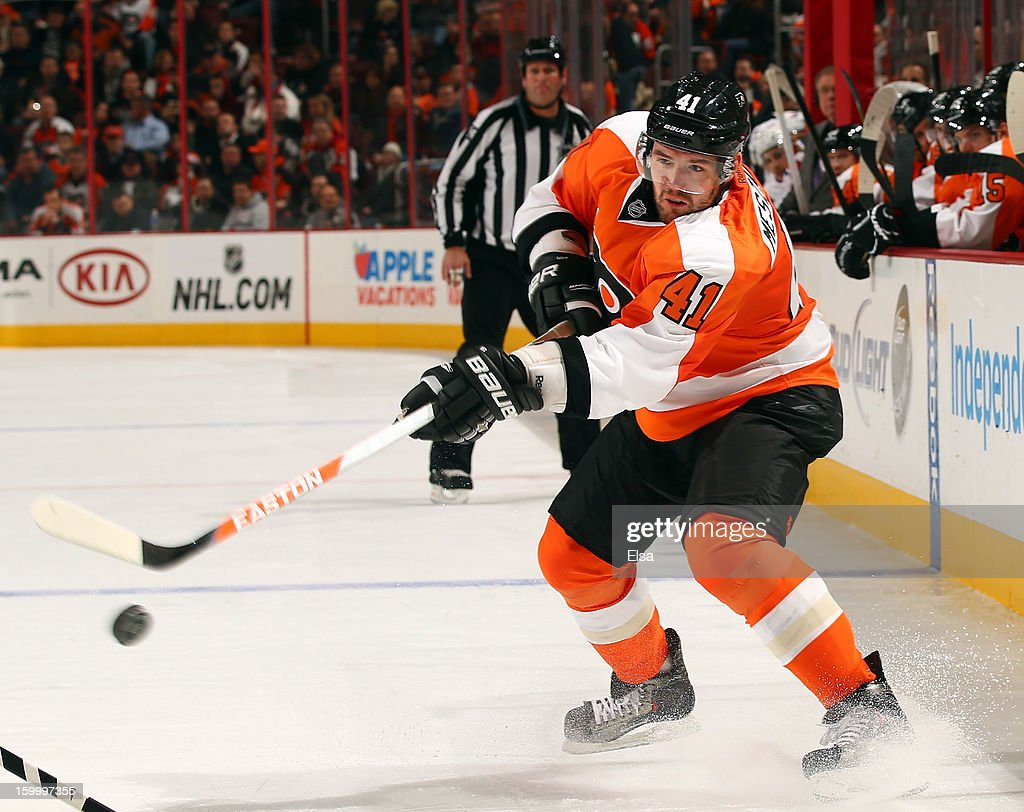<a gi-track='captionPersonalityLinkClicked' href=/galleries/search?phrase=Andrej+Meszaros&family=editorial&specificpeople=617818 ng-click='$event.stopPropagation()'>Andrej Meszaros</a> #41 of the Philadelphia Flyers passes the puck in the second period against the New York Rangers on January 24, 2013 at the Wells Fargo Center in Philadelphia, Pennsylvania.