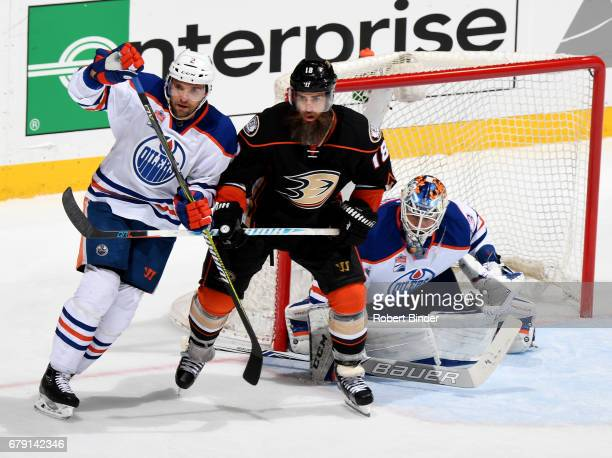 Andrej Sekera and Cam Talbot of the Edmonton Oilers defend the net against Patrick Eaves of the Anaheim Ducks in Game Two of the Western Conference...