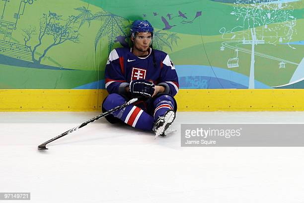 Andrej Sekera of Slovakia looks on after losing to Finland during the ice hockey men's bronze medal game on day 16 of the Vancouver 2010 Winter...