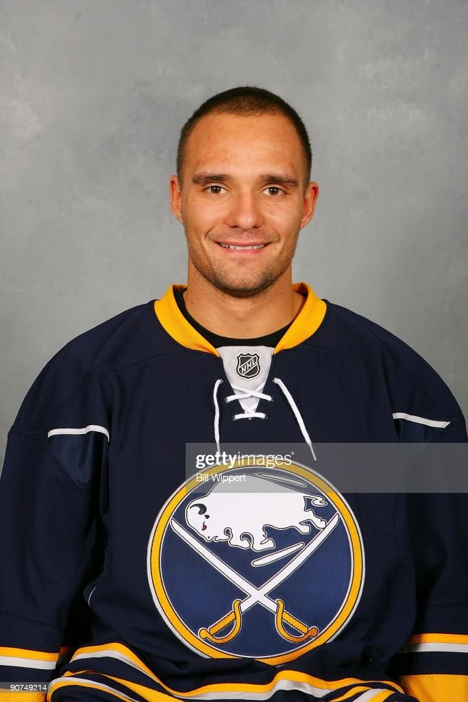 Andrej Sekera of the Buffalo Sabres poses for his official headshot for the 20092010 NHL season