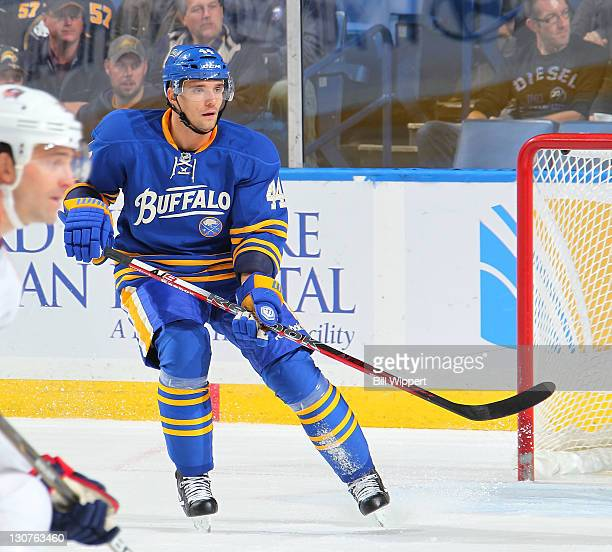 Andrej Sekera of the Buffalo Sabres skates against the Columbus Blue Jackets at First Niagara Center on October 27 2011 in Buffalo New York The...