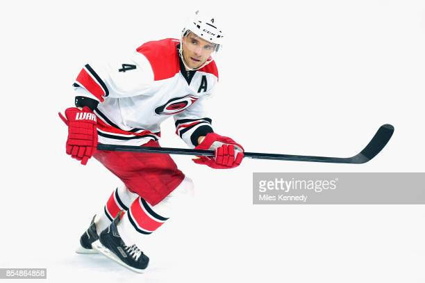 Andrej Sekera of the Carolina Hurricanes plays in an NHL game against the Philadelphia Flyers at Wells Fargo Center on December 13 2014 in...