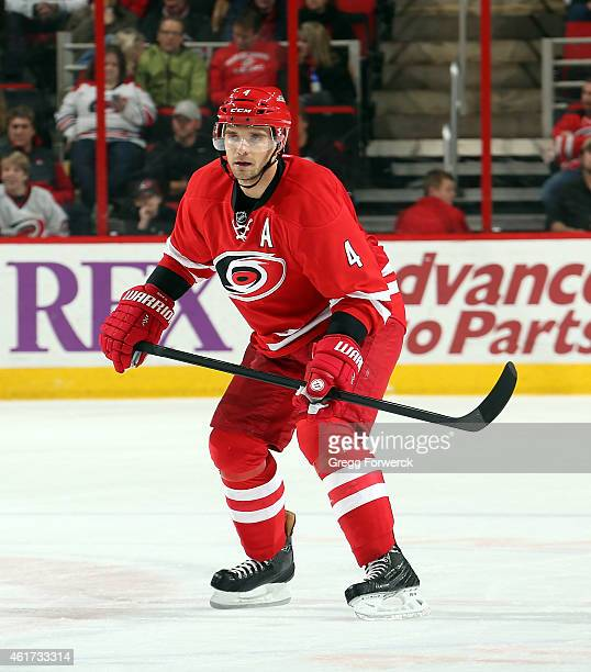 Andrej Sekera of the Carolina Hurricanes skates for position on the ice during their NHL game against the Vancouver Canucks at PNC Arena on January...