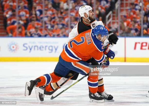 Andrej Sekera of the Edmonton Oilers battles against Ryan Getzlaf of the Anaheim Ducks in Game Four of the Western Conference Second Round during the...