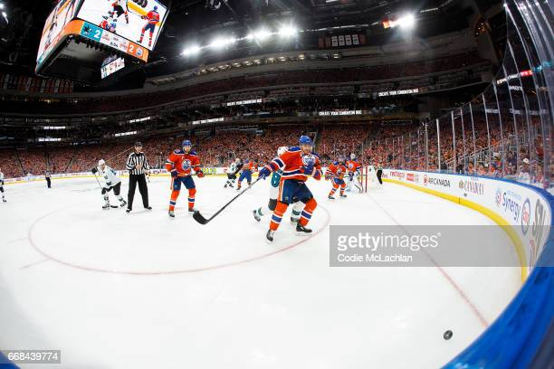 Andrej Sekera of the Edmonton Oilers battles against the San Jose Sharks in Game One of the Western Conference First Round during the 2017 NHL...