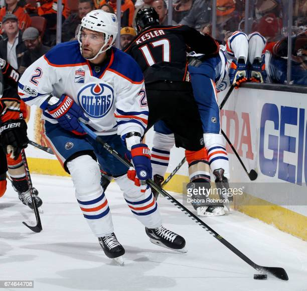 Andrej Sekera of the Edmonton Oilers handles the puck during the game against the Anaheim Ducks in Game Two of the Western Conference Second Round...