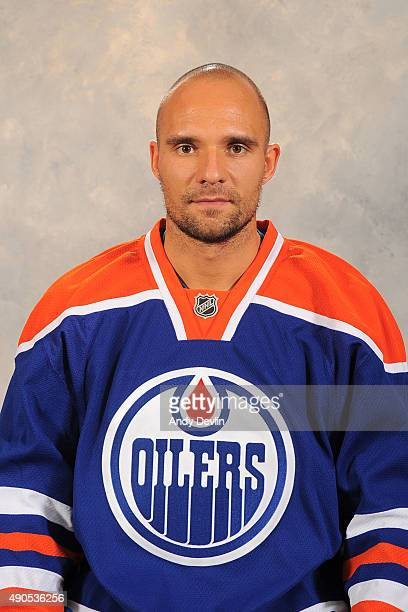 Andrej Sekera of the Edmonton Oilers poses for his official headshot for the 20152016 season on September 17 2015 at the Rexall Place in Edmonton...