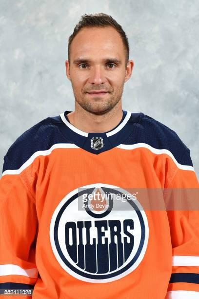 Andrej Sekera of the Edmonton Oilers poses for his official headshot for the 20172018 season on September 14 2017 at Rogers Place in Edmonton Alberta...