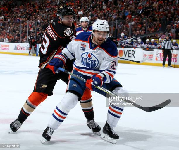 Andrej Sekera of the Edmonton Oilers skates against Jakob Silfverberg of the Anaheim Ducks in Game Two of the Western Conference Second Round during...