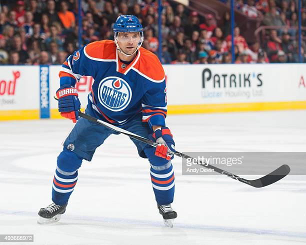 Andrej Sekera of the Edmonton Oilers skates during a game against the Detroit Red Wings on October 21 2015 at Rexall Place in Edmonton Alberta Canada