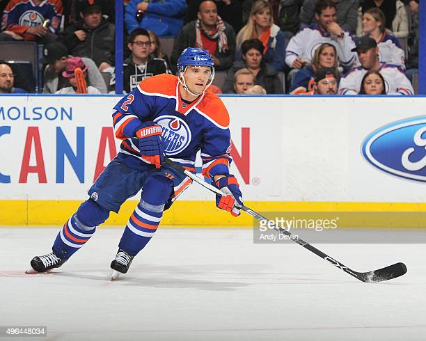 Andrej Sekera of the Edmonton Oilers skates during a game against the Los Angeles Kings on October 25 2015 at Rexall Place in Edmonton Alberta Canada